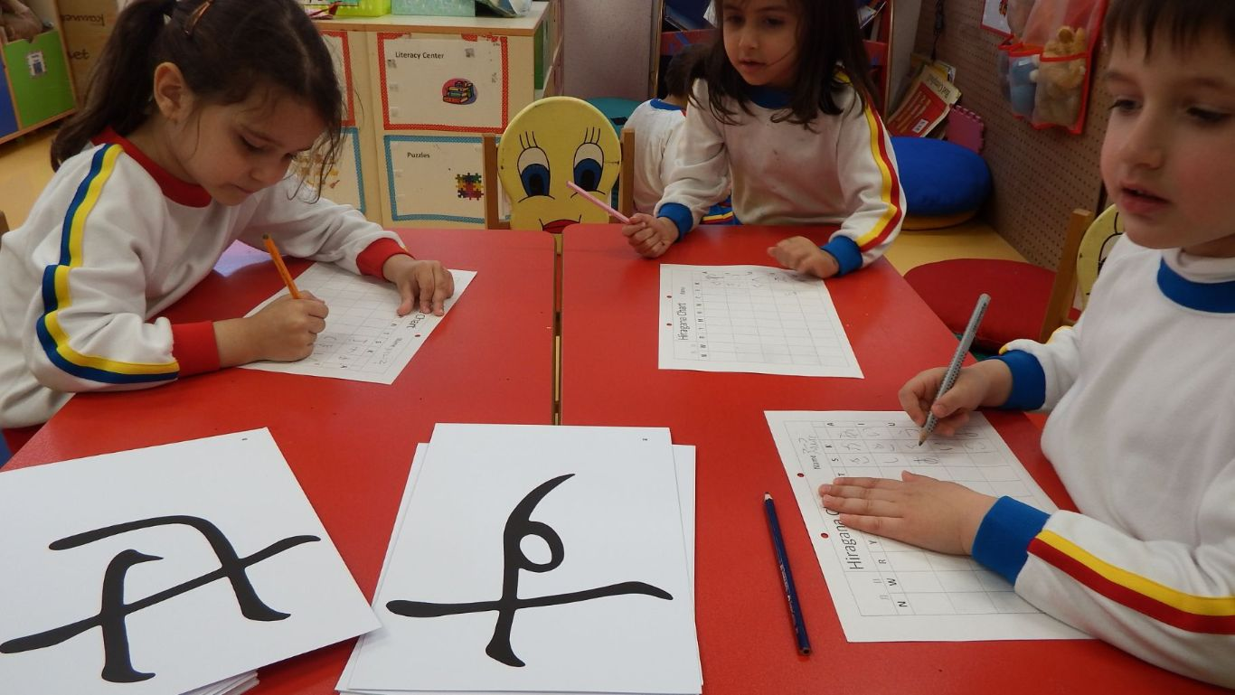 Japanese Kanji Lesson with students