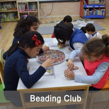 Beading Club with primary students at school