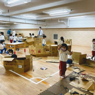 Cardboard maker time with early years students
