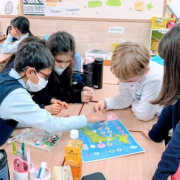 Grade 3 students create hand made games during Japanese Culture Day