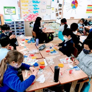Grade 4 students create hand made games during Japanese Culture Day