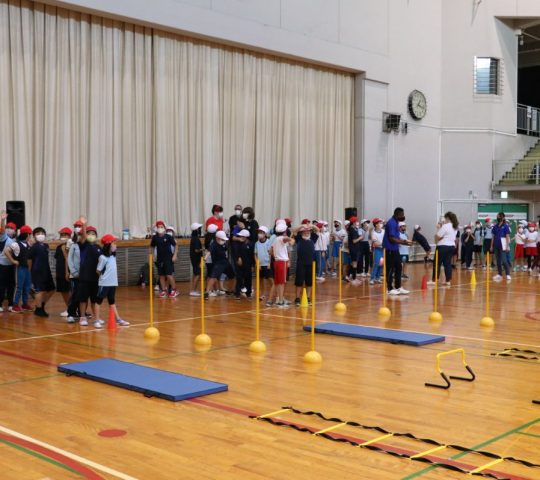 Obstacle course with SIS Students at Konami